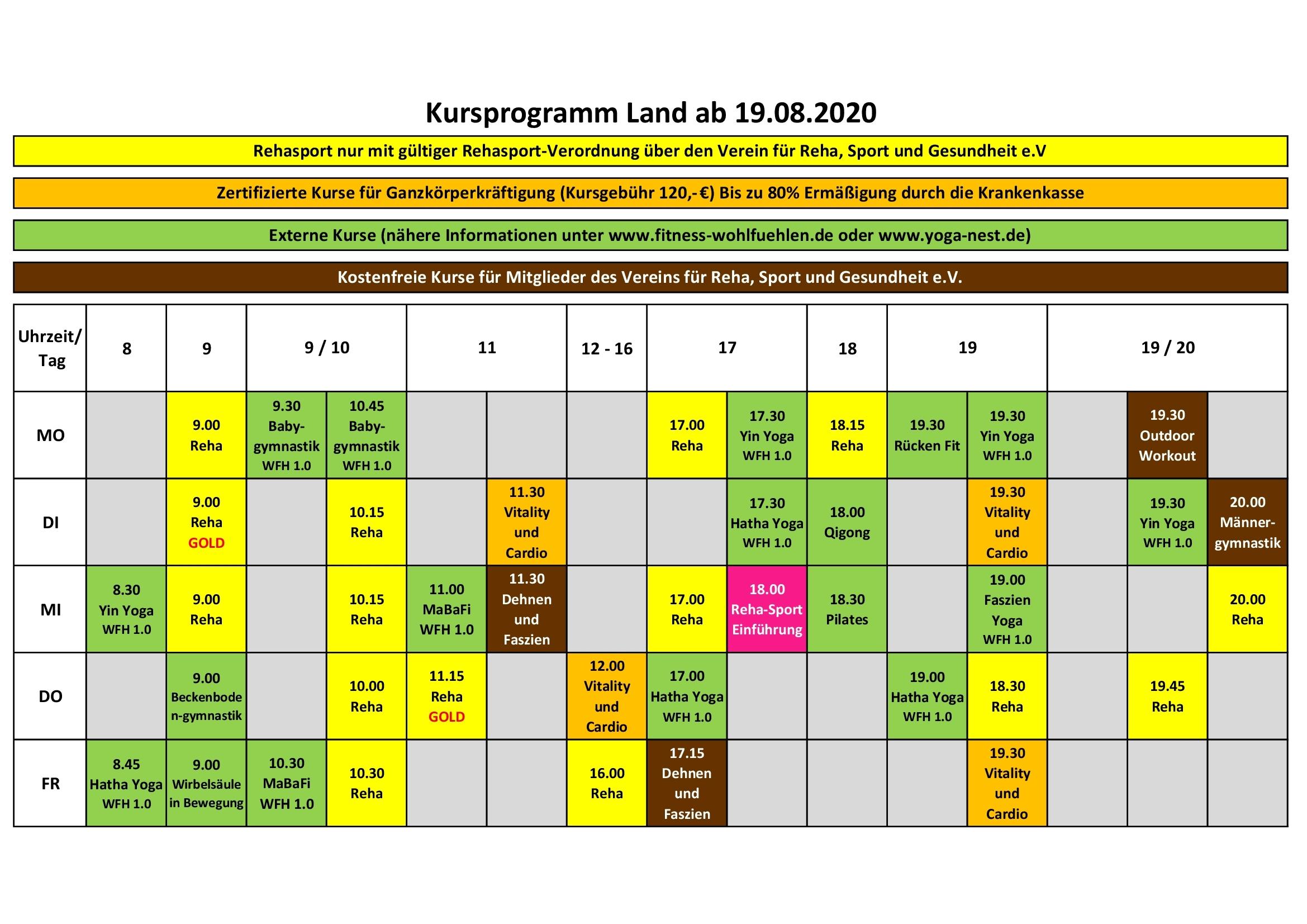 Kurse an Land ab 19.08.2020