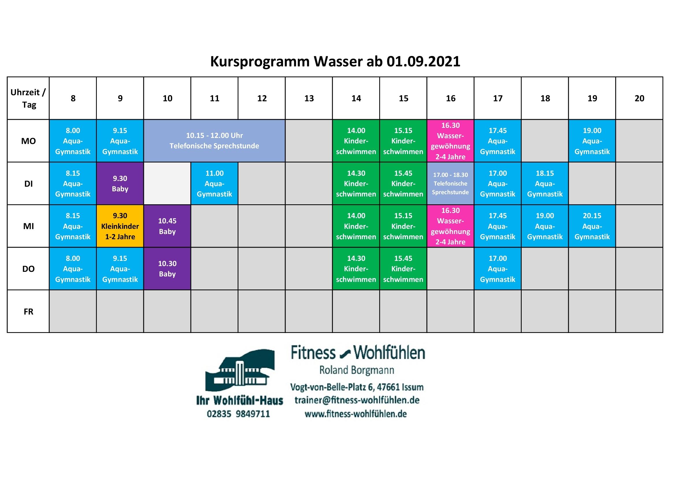Kursplan Schwimmbad ab 01.09.2021